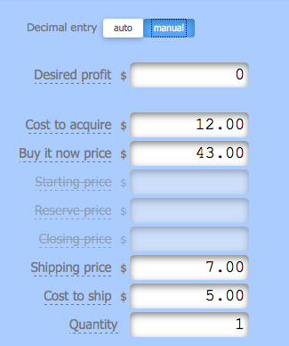 eBay Inputs Calculator for Fees