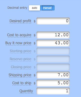eBay Inputs Calculator for Fees